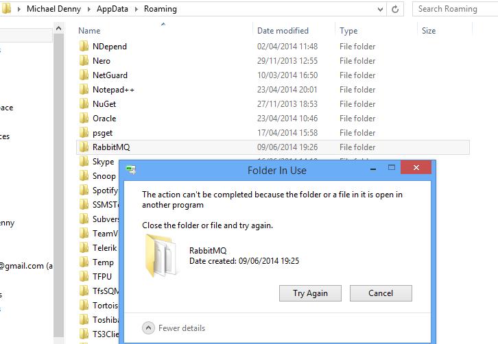 rabbitmq-folder-wont-delete