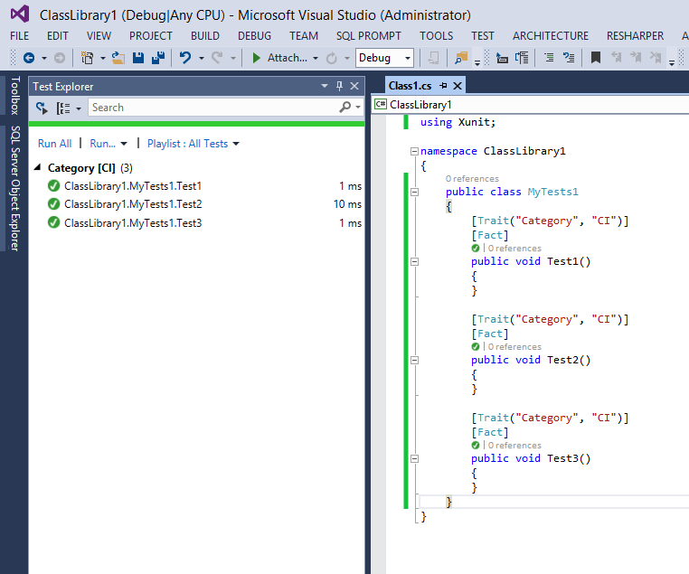 Trait and Visual Studio Test Explorer